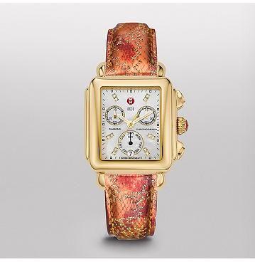 MICHELE® NEW ARRIVALS Watches: Signature Deco Gold, Diamond Dial Bronze Multi Patent