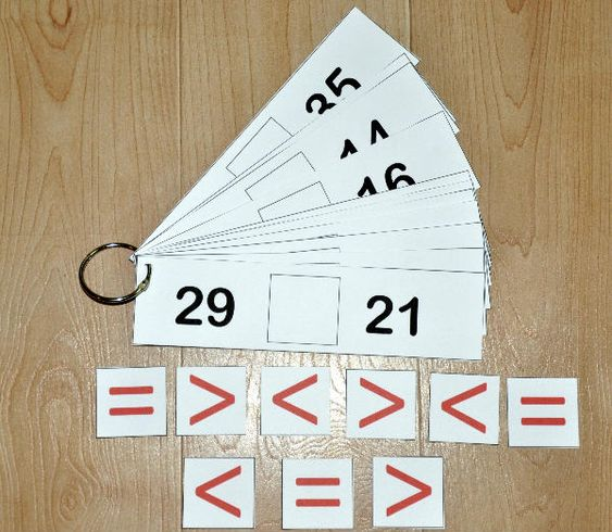 """Greater Than or Less Than Flipstrips 1-The Greater Than/Less Than Flipstrips 1 are a math activity. In this activity students complete each flipstrip with a """"greater than,"""" """"less than,"""" or """"equal"""" sign when comparing two numbers. This activity works well in both independent work stations and math centers."""