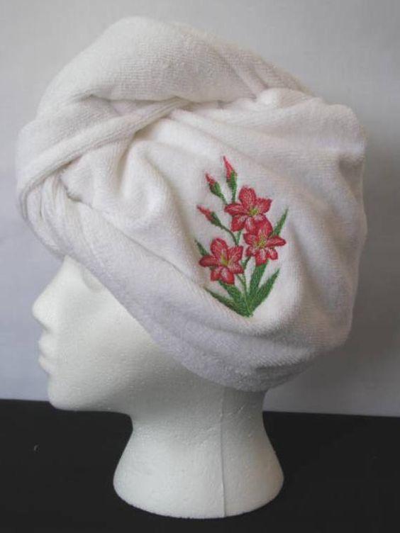 Embroidered Gladioli Microfiber Hair Turban  by StitchinStation