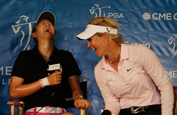 Michelle Wie and Suzann Pettersen - This shows why it really is different on the LPGA. Can't tell who is having more fun the interviewer (Michelle) or the interviewee (Suzann) Also, nice to see Michelle laughing.   #CMEGroupLPGA