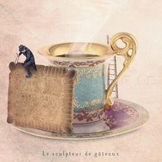 Le sculpteur de gâteaux - 13x18 cm - photographie d'art,photographie, photo, photographe, photographie art, gourmandise, tea time, cuisine , décoration cuisine