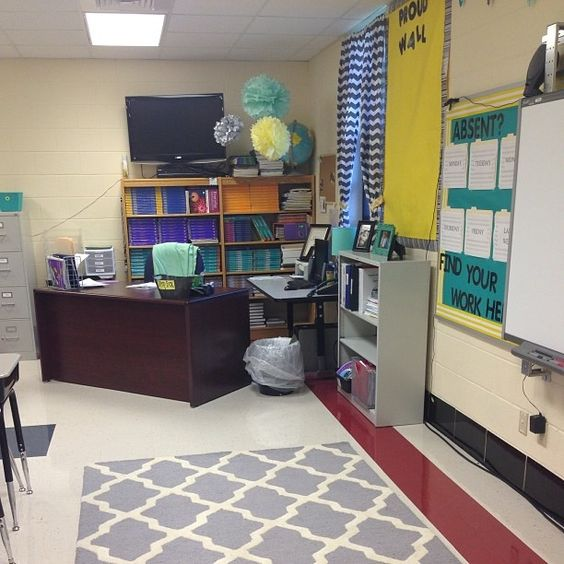 Modern Classroom Rug : Teal yellow and grey classroom decorations