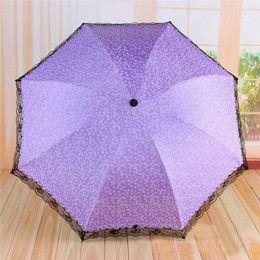Popular Sweet Small Flowers Umbrella Tempting Black Lace Trim Women Umbrellas Lady Sunshade Black Coating Floral Paraguas US030