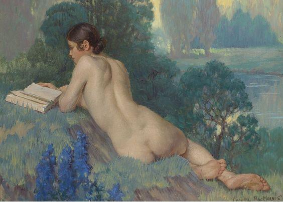 "FINE ART PAINTING Daniel MacMorris (1893-1981), ""Nude Reading"" https://www.facebook.com/TheNudismAndNaturismDailyNews:"