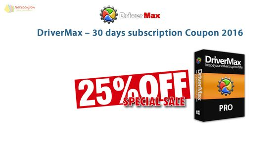 DriverMax – 30 days subscription coupon 2016 for 25% OFF http://notecoupon.com/store/drivermax-coupon-codes