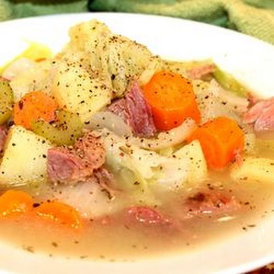 ~Mom's Traditional Ham, Cabbage and Potato Soup~ Recipe Main Dishes, Soups with shanks, chicken stock, water, sea salt, cracked black pepper, dried thyme leaves, chopped onion, chopped celery, carrots, gold potatoes, green cabbage