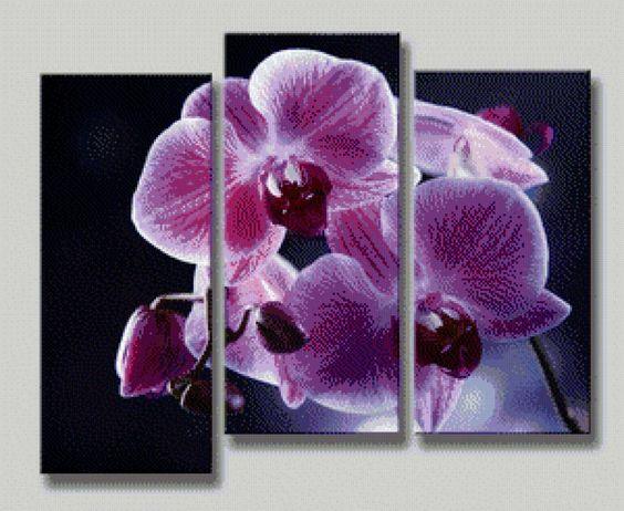 Триптих орхидеи схемы вышивки