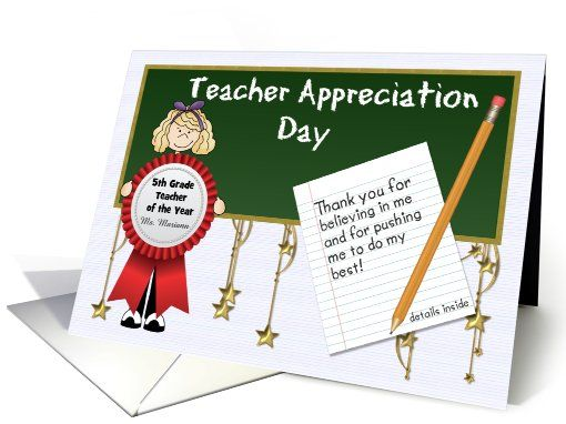 5th Grade Teacher Appreciation Day Custom Front with Blonde Girl greeting card by ©Doreen Erhardt