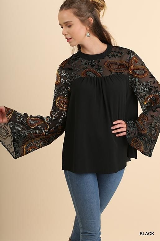PLUS UMGEE USA Striped Off Shoulder long sleeve dress floral embroidery Black