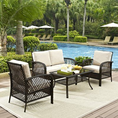 Stella 4 Piece Rattan Sofa Seating Group With Cushions Frame Color Brown In 2020 Outdoor Wicker Seating Backyard Furniture Patio Furniture Sets