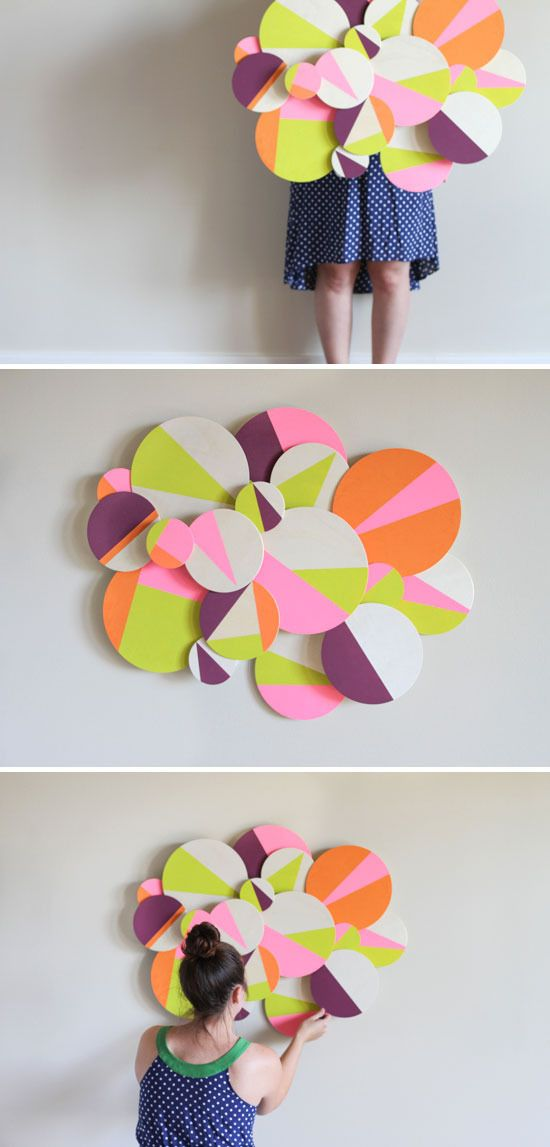 How to make diy colorful 3d geometric wall art for Diy colorful wall art