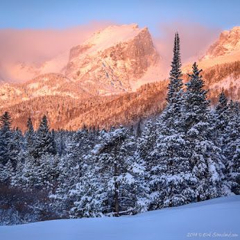 Here's another photograph from yesterday morning, taken a little bit earlier. This is Hallett Peak bathed in the warm light of the rising son. Surprisingly, the temperature on this morning, according to the car thermometer and my frozen fingers, was 0 degrees Fahrenheit. Just two days earlier it was nearly 70 degrees! www.ImagesofRMNP.com