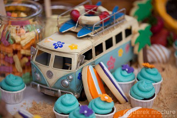 Hawaiian luau themed desserts - cookies and little cupcakes