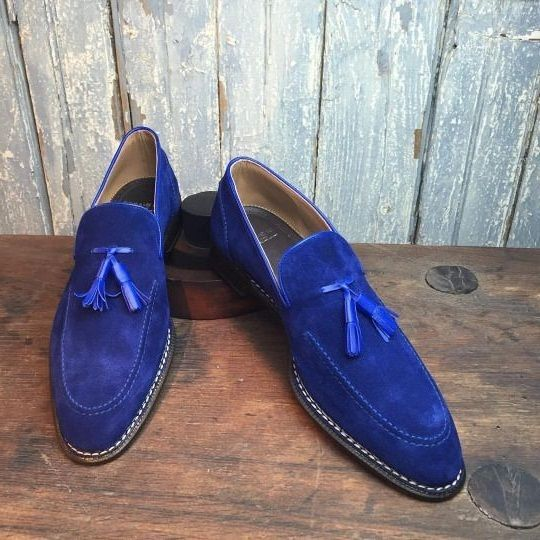 Men,s Handmade loafer shoes, royal blue suede shoe for men, men tassel dress sho - Casual
