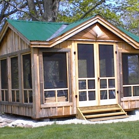 This small building is great for spending time in the warmer months. It has glass and netting around but a sturdy frame at the same time so you can be out when it's cooler if you make sure there's glass in the windows.