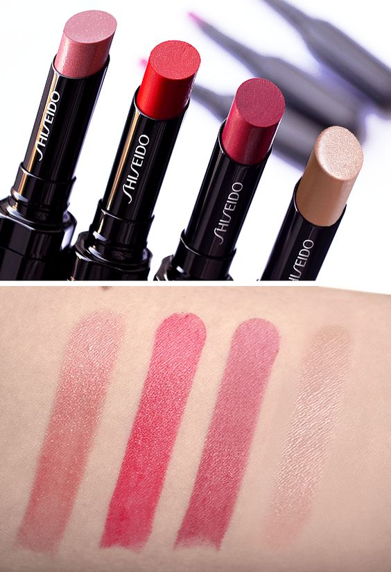 Shiseido Veiled Rouge Lipstick RD302 Rosalie, RD506 Carnevale, RD707 Mischief, BE301 Carrera
