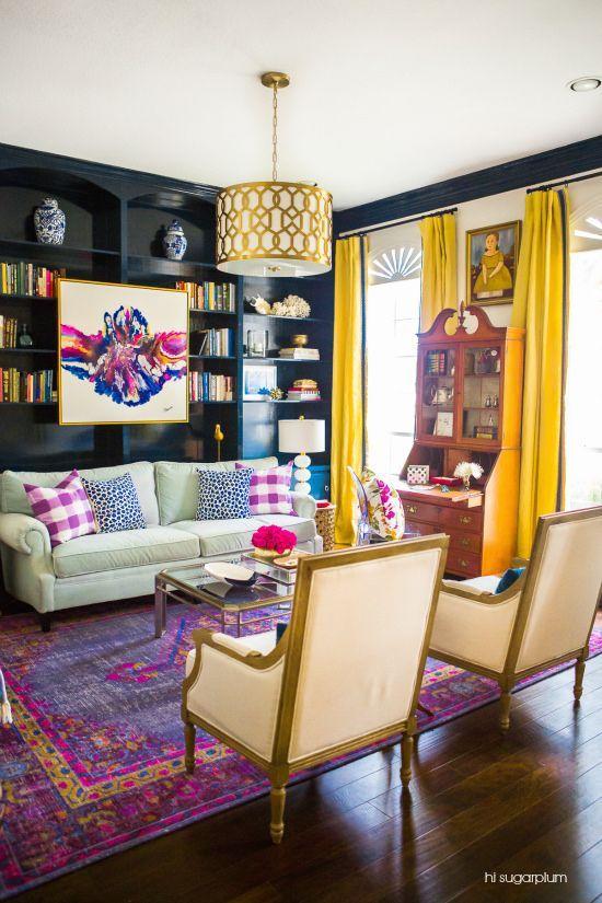 Interior design success! Admiring this stunning living room project featuring an overdyed Zahra rug from Surya (ZHA-4001). Design: @cassiesugarplum Photo: @sothentheysayblog: