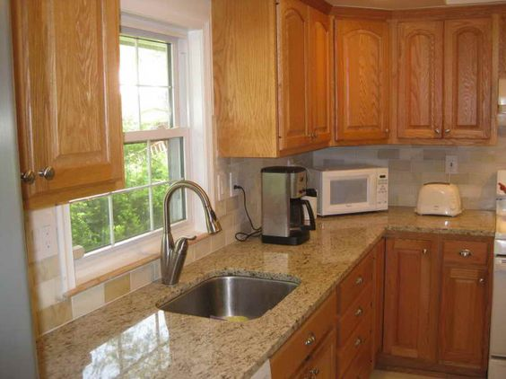 Paint colors countertops and cabinets on pinterest for White kitchen cabinets with oak trim