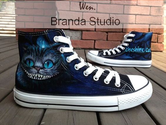 Alice In Wonderland-Cheshire Cat-Studio Hand Painted Shoes 55Usd,Paint On Custom Converse Shoes Only 94Usd,Buy One Get One IPhone Case Free