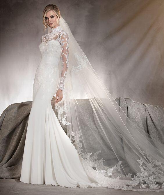 Ariella - Robe de mariée en gaze et en tulle ornée de dentelle sur les manches…