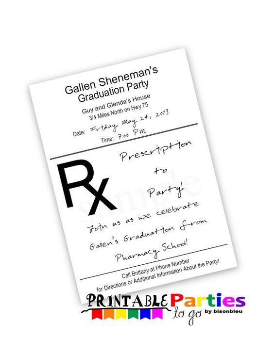 Prescription Pad Printable X Invitations By Printablepartiestogo
