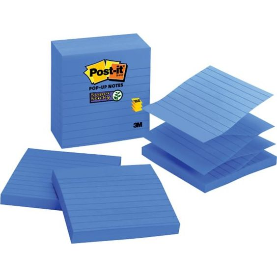 "Post-it® Super Sticky 4"" x 4"" Periwinkle Line-Ruled Pop-Up Notes, 5 Pads/Pack 