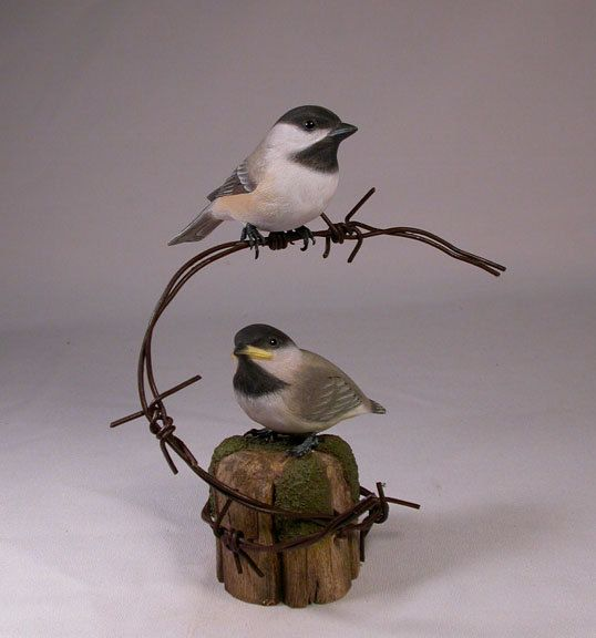 Pair of Chickadee Hand Carved Wooden Bird on barbed wire. $350.00, via Etsy.