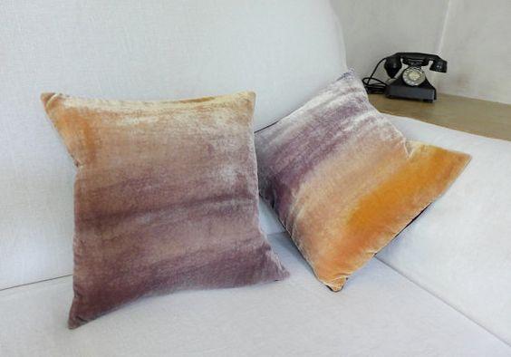 Honey and mushroom velvet cushion cover UK 12 30cm by Colorbloom
