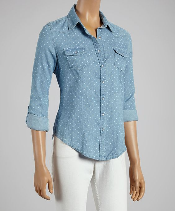 Another great find on #zulily! Starwear Blue & White Polka Dot Button-Up by Starwear #zulilyfinds