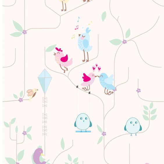 G�l Clarinho a%u011Fa�lar arka planda Birdies Wallpaper - Dijital Duvar Ka%u011F%u0131d%u0131