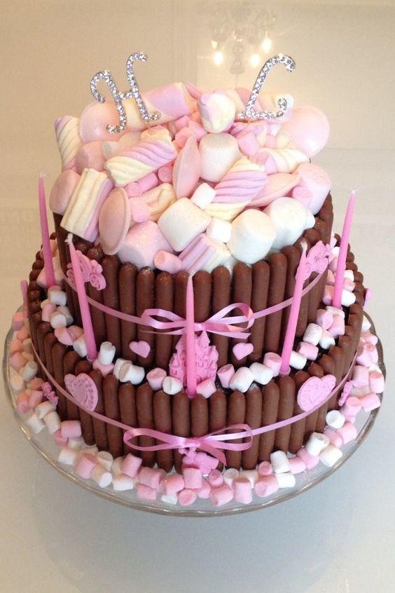 Pink Princess Chocolate Marshmallow Cake