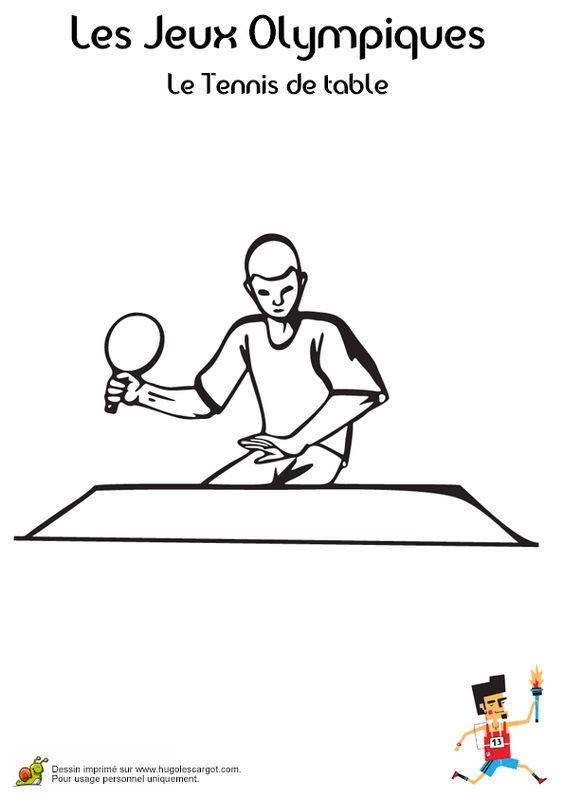 Coloriage d'un joueur de tennis de table aux Jeux Olympiques