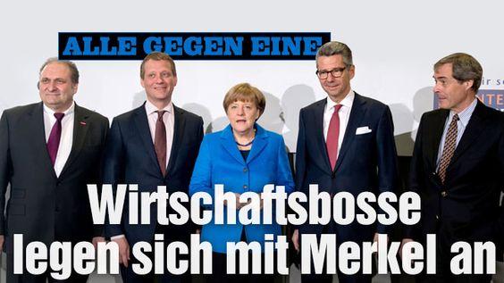Alle gegen eine: Wirtschaftsbosse legen sich mit Angela Merkel an (not gentlemen, since all against one and that one is a lady lol) -  Handwerks-Präsident Peter Wollseifer, DIHK-Präsident Eric Schweitzer, Bundeskanzlerin Angela Merkel, BDI-Präsident Ulrich Grillo und BDA-Präsident Ingo Kramer http://www.bild.de/geld/wirtschaft/angela-merkel/verbaende-fordern-von-merkel-reformen-40139608.bild.html