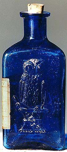 """POISON / The Owl Drug Co. KT-1 2-wing cobalt poison in rare 5"""" size with original label.:"""