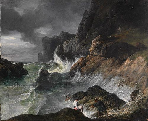 """Horace Vernet, """"Stormy Coast Scene after a Shipwreck.""""  Oil on canvas."""