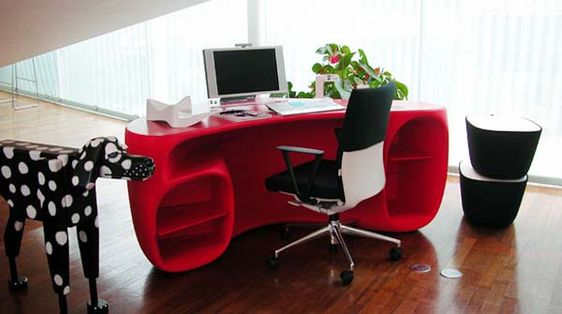 Furniture Design, The Really Excitingdesign Of The Desk Also Beautiful Red Color Also Glass Window And Curtain Then Computer And Modern Chair: The Best Of The Designing Also The New Of The Unique Desks On The 2015