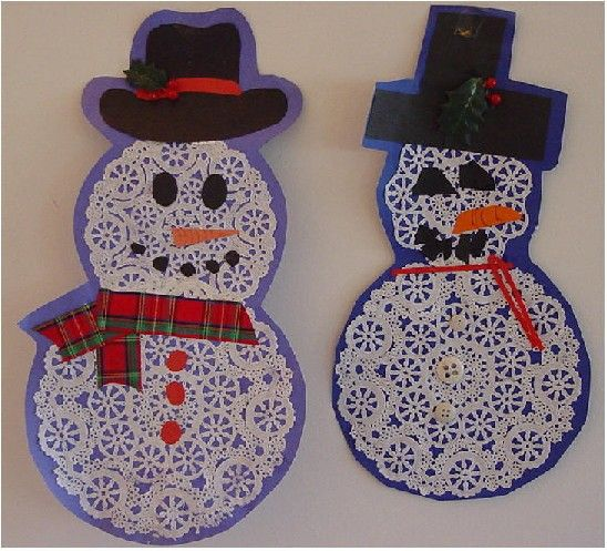 doily snowmen - adorable! #preschool..great after holiday craft to recycle doilies from cookie plates