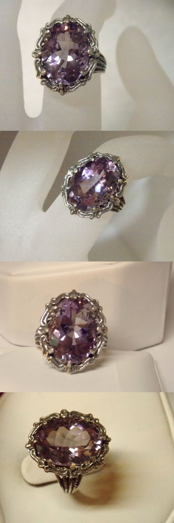 Rings 52603: Natural 9Ct Purple Amethyst Filigree Antique 925 Sterling Silver Ring Size 6.5 BUY IT NOW ONLY: $99.0
