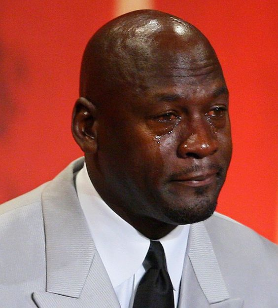 """BONUS: This photo of Michael Jordan was taken in 2009, but it makes this list as """"crying Jordan"""" became the biggest meme in sports this year, and it wouldn't feel right to leave it out."""