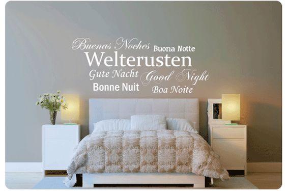Muurstickers Slaapkamer Praxis : Welterusten, in 7 verschillende talen ...