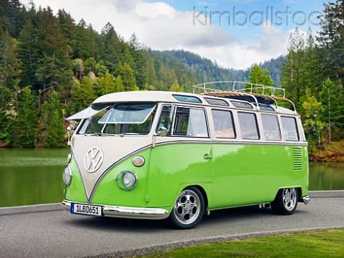 1963 Vw 23 Window Microbus Deluxe Bright Green And Pearl 3 4 Front