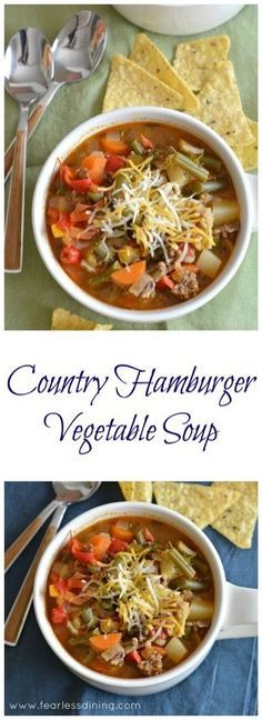 Country Hamburger Vegetable Soup www.fearlessdinin...