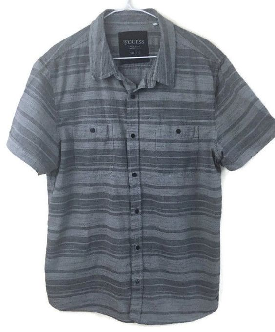 Details about Guess Mens XXL 2XL Casual Camp Gray Horizontal Short ...