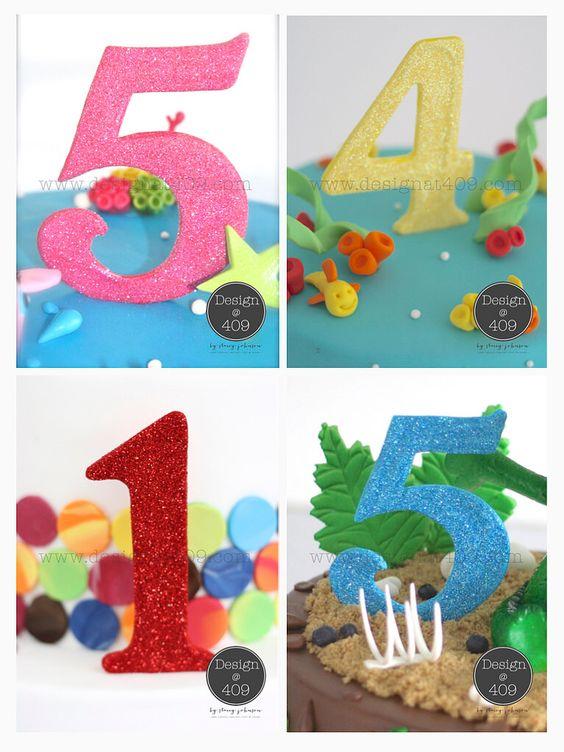 Gum Paste Glitter Numbers Cake Topper : Design @ 409