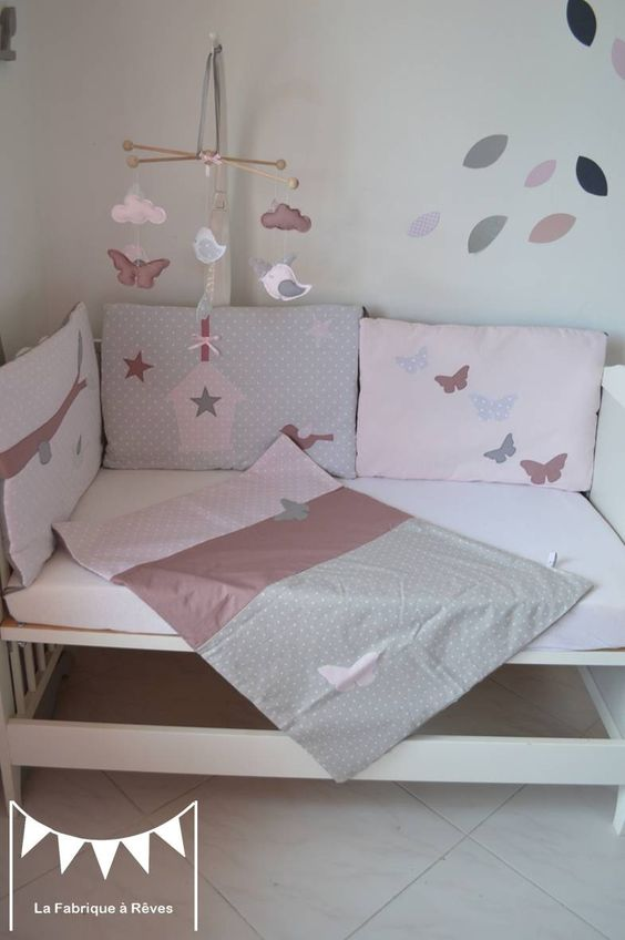 couverture b b rose poudr gris vieux rose en coton et percale de soie face en polaire minky. Black Bedroom Furniture Sets. Home Design Ideas