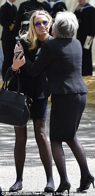 Lady Sofia Wellesley, who is married to James Blunt, greeted another guest outside the ser...