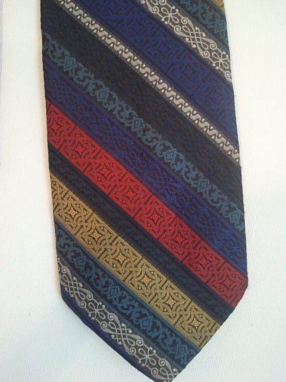 70s polyester tie cocktail rainbow stripe grunge punk textured