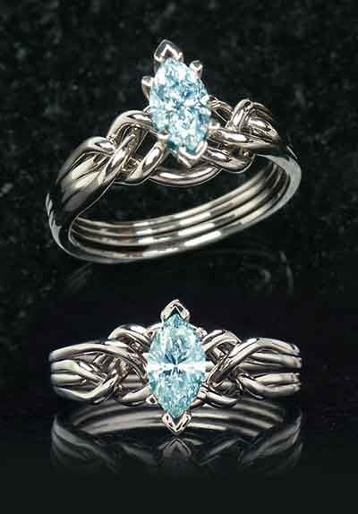 Aquamarine engagement rings: Marquise aquamarine puzzle engagement ring