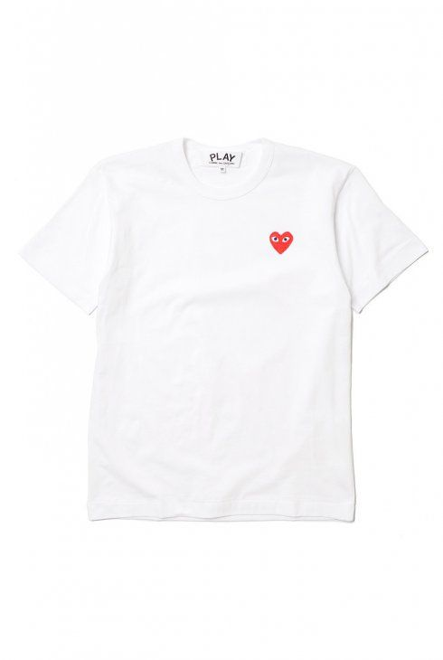 CDG PLAY women's white t-shirt with red chest embroidery.  - Made in Japan. - 100% Cotton.