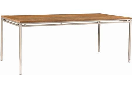 """Phase II Dining Table   W 78.5"""" D 39.5"""" H 30.0""""   Wood: Solid Reclaimed Teak/Stainless Steel   Custom sizes available   Finish: Ashes  Curtain call Creations"""